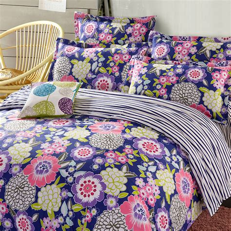 Charming Navy Blue Floral Cotton Bedding Set Ebeddingsets Navy Blue Bedding Sets