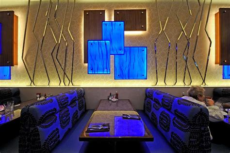 Interior Designer Architect backlighting blue resin restaurant wall led light panel