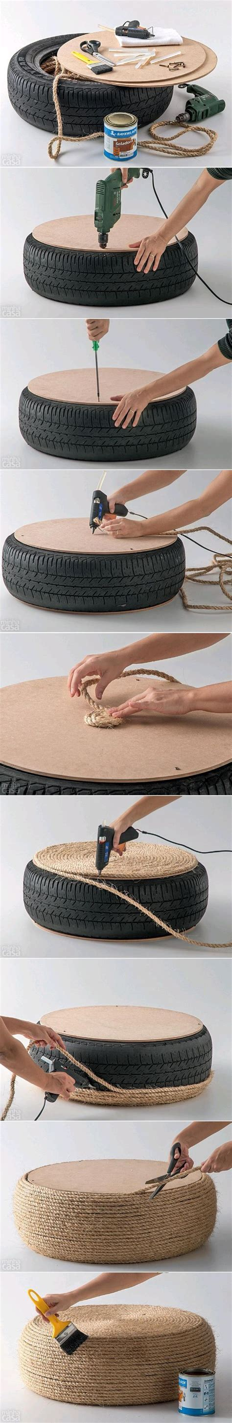 Nautical Storage Ottoman How To Turn An Tire Into A Stylish Nautical Inspired Ottoman Home Crafts