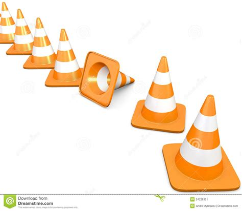Traffic Cone Karet Safe Line line of traffic cones with one fallen cone stock image