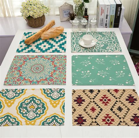 geometric pattern linen table placemat coaster home table