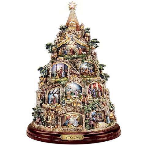 thomas kinkade musical lighted christmas tree nativity