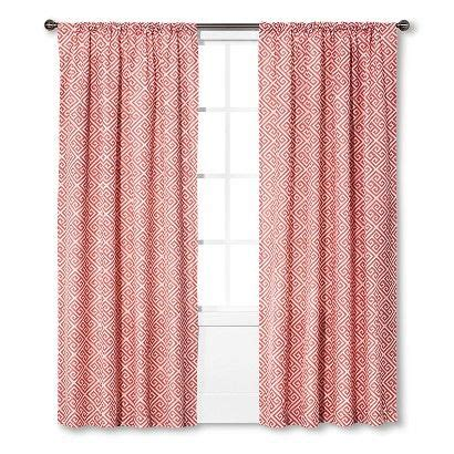 target coral curtains threshold greek key curtain panel coral curtains
