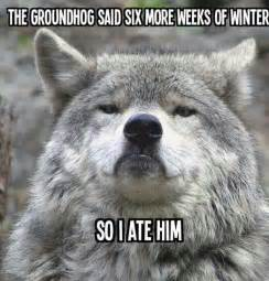 The groundhog said six more weeks of winter so i ate him