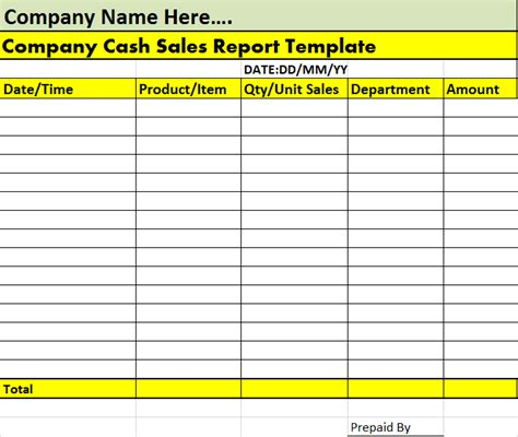 cash sales report template free report templates