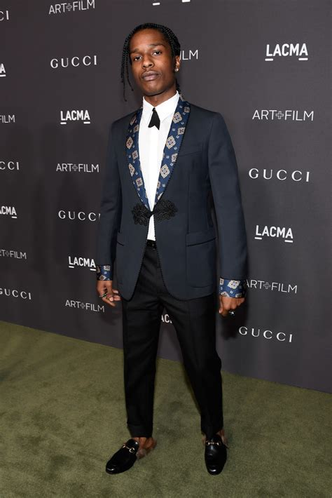 gucci loafers with suit asap rocky wears gucci suit and shoes at 2016 lacma