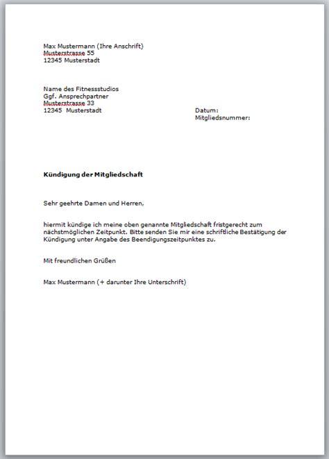 Bewerbung Bundeswehr Dauer Kostenlose Vorlage F 252 R Die K 252 Ndigung Im Fitnessstudio