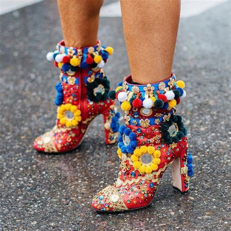 colorful booties shoes booties boots boho chic boho heels colorful