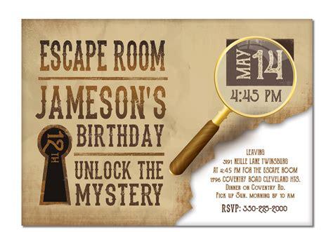 printable escape room free escape room invite boys or girls birthday invitation gold