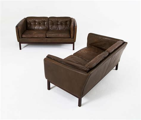 scandinavian leather sofa pair of scandinavian olive leather sofas at 1stdibs