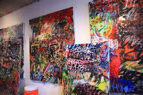 Bathroom graffiti on canvas with mint amp serf brooklyn street art