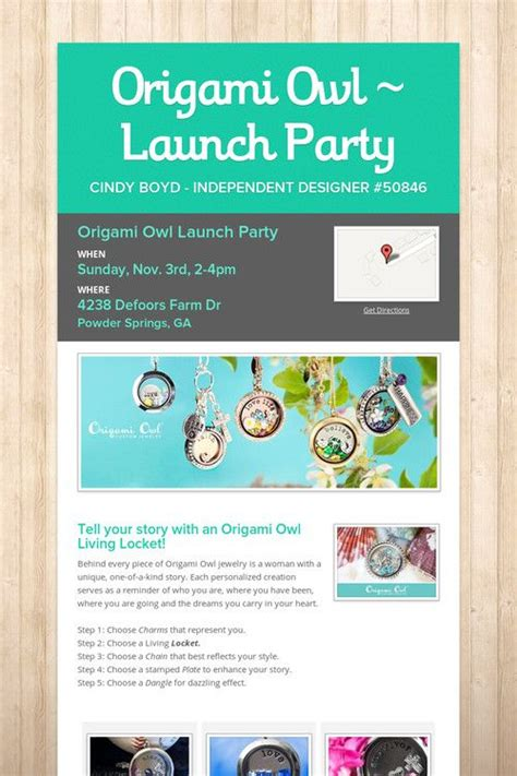 Origami Owl Launch - origami owl launch inv ideas invitations ideas