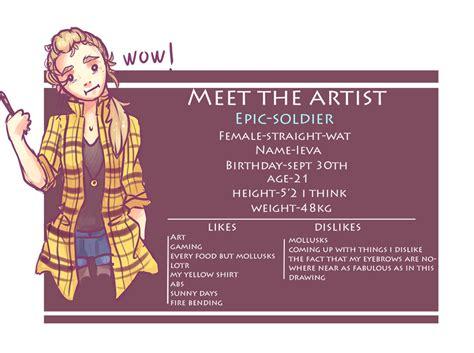 meet  artist meme  epic soldier  deviantart