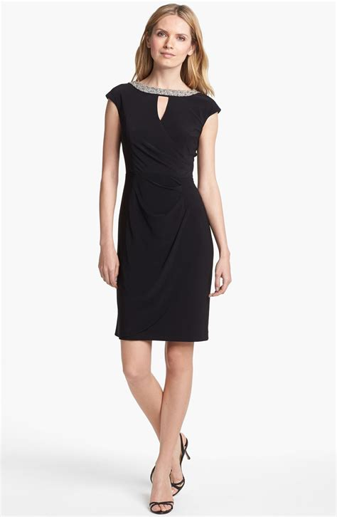 Cap Sleeve Sheath Dress alex evenings embellished cap sleeve sheath dress in black