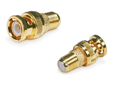 Connector Bnc f type connector to bnc adaptor gold plated