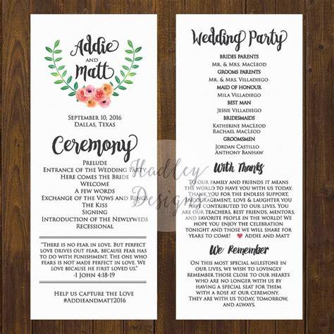 wedding program sle templates wedding programs wedding ceremony programs wedding