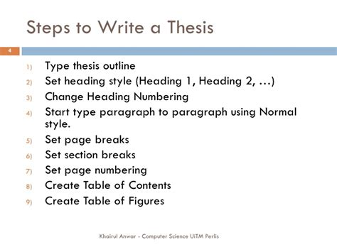steps to writing a thesis writing thesis using ms word 2007