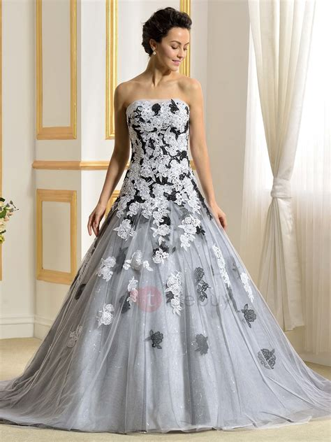 wedding dresses color floor length a line strapless lace appliques color wedding