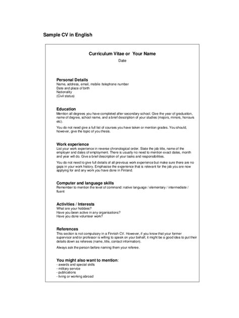 template curriculum vitae excel simple cv template 5 free templates in pdf word excel