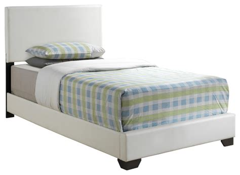 transitional bed white leather look twin size bed transitional kids