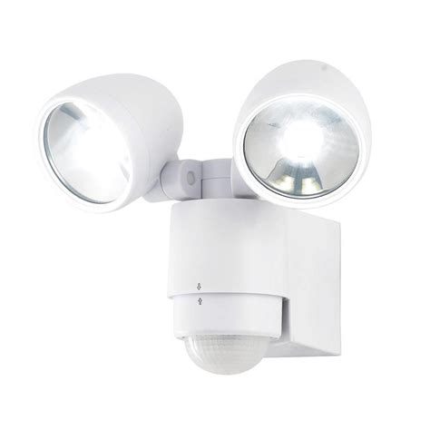 led security light bulb sirocco 2 light led security spotlight w pir sensor white