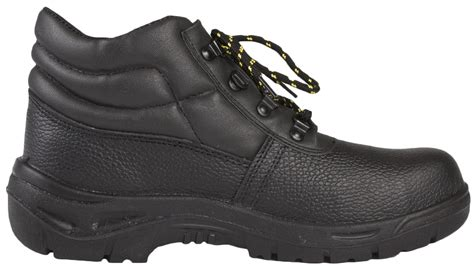 black non slip boots mens steel toe cap safety black leather ankle boots non