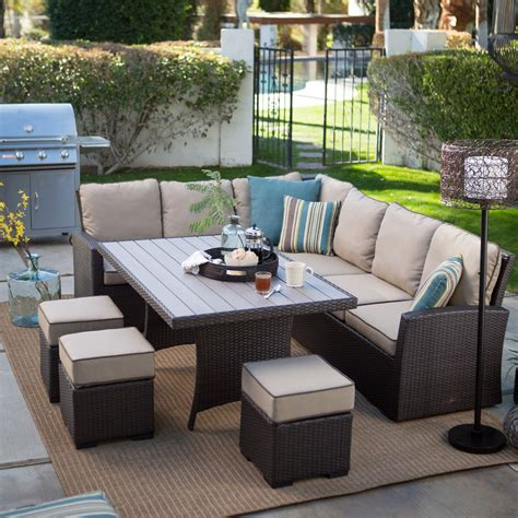 sofa sectional patio dining set belham living monticello all weather wicker sofa sectional