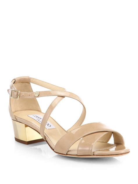 patent sandals jimmy choo merit crisscross patent leather sandals in