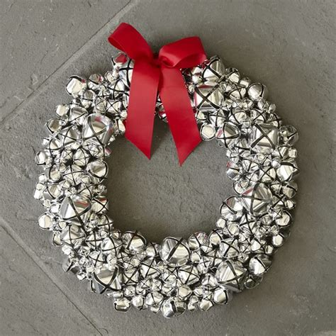 silver jingle bell wreath williams sonoma