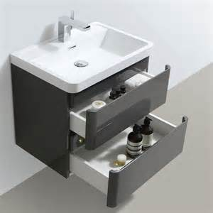 zenit 600mm white gloss wall hung bathroom vanity unit inc