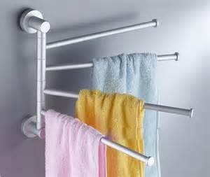 Bathroom Pole Rack Aluminum Towel Rail Holder Wall Mounted Turning 4 Pole