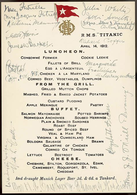 titanic menus titanic at 100 years photos the big picture boston com
