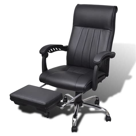 desk chair with footrest black artificial leather office chair with adjustable