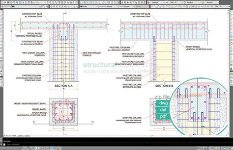 Roof Deck Plan Foundation column jacketing anchorage to top beam slab detail