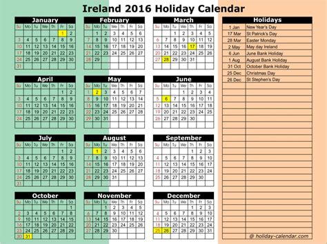printable calendar 2017 ireland irish bank holidays 2016 calendar template 2016
