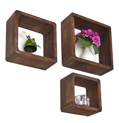 nachttisch organizer cube shelf loung wall shelf kitchen wood brown set of
