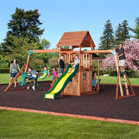 ebay swing set backyard discovery saratoga all cedar wood playset swing
