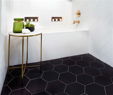 Hex Tiles For Bathroom Floors by Geometrical Design Bathroom Floor Tile Black Hex