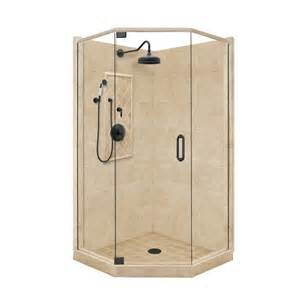Bathroom Shower Kits Shop American Bath Factory Panel Medium Fiberglass And Plastic Neo Angle Corner Shower Kit