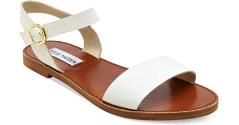 steve madden donddi flat sandals in white lyst