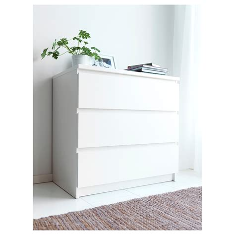 malm chest of 3 drawers white 80x78 cm ikea