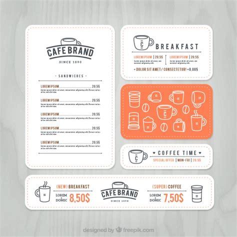 note card cafe templates cafe brand menu vector premium