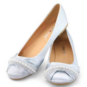 Wedges Import 7cm womens white wedding shoes bridal satin flat toe pearl