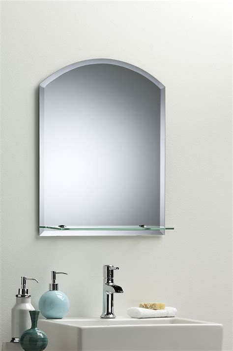 Bathroom Wall Mirror Modern Stylish Arch With Shelf And Frameless Bathroom Wall Mirrors