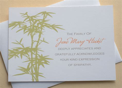 make your own sympathy card bamboo personalized sympathy thank you cards by zdesigns0107