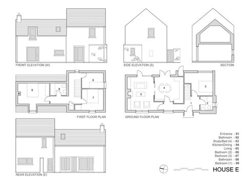 elevation view drawing elevation plan view house