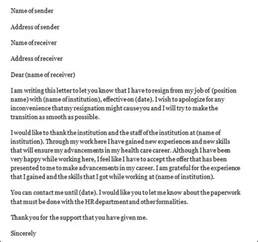 sample nurse resignation letter