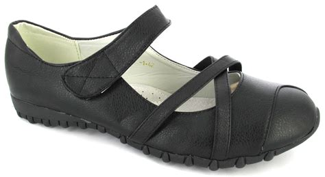 flat comfort casual shoes black womens velcro
