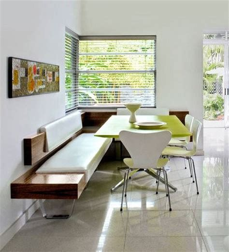 corner banquette dining more light to eat by modern green white wood dining room