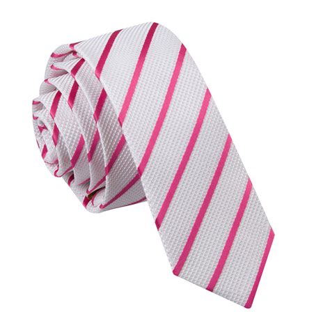 s single stripe white pink tie